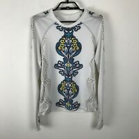 Athleta Blouse Womens Size L White Teal Multicolor Long Sleeve Floral Polyester