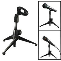 1X Table Microphone Tripod Stand Adjustable Metal Desktop Mic Clamp Clip Holder