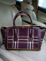 Bally SOMMET MEDIUM Fabric Plaid Leather Bag Purse Satchel Handbag Tote Merlot