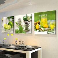 AM_ EG_ 3 Pcs Fruits Lemon Canvas Painting Pictures Kitchen Living Room Decor Ch