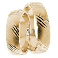 His & Her Striped Wedding Band Set 5mm 14K Yellow Gold Matching Wedding Set