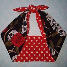 skull  roses red polka dot mexican bandana headband, hairband