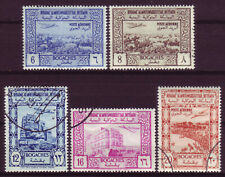 YEMEN 1951;AIR POST STAMPS;SHORT SET OF 5;SC # C3, C4, AND C6-C8;USED (CTO,G,NH)