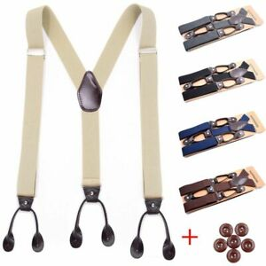 Suspenders Braces Strap Belt Leather Trimmed Button Clip Adjustable Elastic Tuck