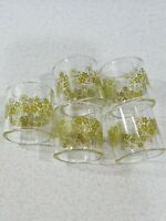 Corning Pyrex Glass Napkin Rings Set of 6 Green Flowers Floral Daisy Vintage Mod