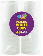 48 x vrac blanc jetable en plastique 200 ml TASSES Chaud Froid Thé Café Parti ve...
