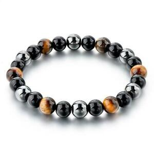 Gemstone Bracelet Hematite, Agate, Tiger Eye beads Elastic stretchable Black Bag
