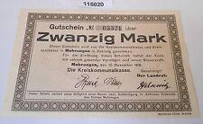 20 Mark Banknote Notgeld Kreis Mohrungen 10.November 1918 (115020)