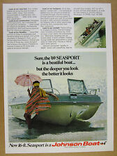 1969 Johnson Seasport Boat 2x color photo vintage print Ad