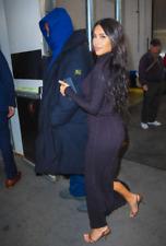 NEW KIM KARDASHIAN STYLE LONG SLEEVE BLACK MAXI DRESS BODYCON BACK SLIT DRESS