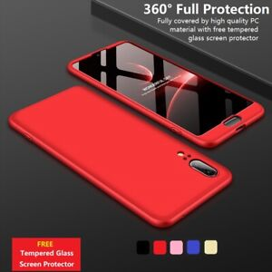 360° Full Body Hard Phone Case Cover Tempered Glass Huawei P20 P30 P40 Lite/Pro