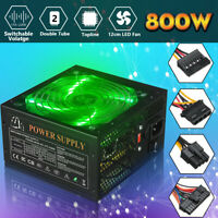 800W PC Power Supply Quiet ATX Gaming PSU + 120mm LED Fan For Desktop