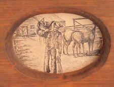 Western Picture Vintage Print Wood Cowboy saddle chaps horses