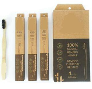 4 Pack Natural Bamboo Toothbrush Individually Boxed Charcoal Infused Black Bris