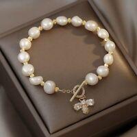 14K Gold Bee Zircon Irregular Pearl Bracelet Bangle Chain Women Party Jewelry
