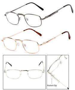 Retro Men Metal Frame Pocket Clip Clear Lens Reading Glasses Spring Hinges RE174