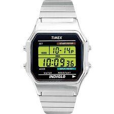 Mens Timex Indiglo Classic Sports Digital Alarm Silver Stretch Band Watch T78587