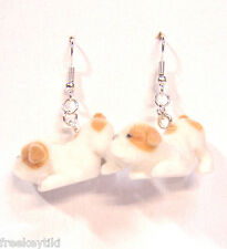 "English Bulldog Dogs Puppies 1"" Mini Figures Fuzzy w/ Flocking Dangle Earrings"