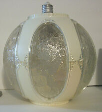 Vtg Retro Ceiling Lamp Light Fixture Lucite Globe Shade Round Porcelain Socket