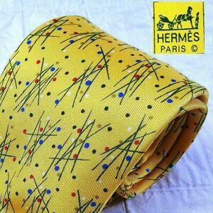 HERMES France 7953 EA Yellow Geometric Polka Dot 100% Silk Mens Luxury Tie