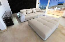 Bigsofa Megasofa MIAMI XXL Polster Sofa Materialmix Hocker und LED Beleuchtung