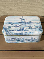 VINTAGE TIN CONTAINER ENGLAND BLUE WHITE DUTCH SCENE - SIGNED - RINA BURGER F/S