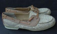 Women's Boat Shoe Brown Snake Skin Nude Ivory Sam Edelman Sabastian 6 $150 NEW