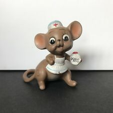 Vintage Josef Originals Mouse Village Nurse Mouse Figurine Ceramic Japan