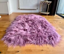XXL Large Genuine Icelandic Sheepskin Sheep Quad/4 pelt Size Rug Dusky Rose Pink