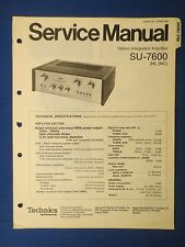 TECHNICS SU-7600 INT AMP SERVICE MANUAL ORIGINAL FACTORY ISSUE THE REAL THING
