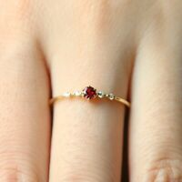 14k gold ruby 4 tiny topaz pieces of exquisite small fresh lady engagement ring