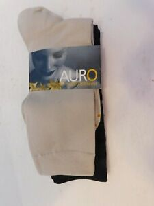 AURO GOLD TOE  TROUSER SOCKS (2 Pairs) 1 BLACK 1 BEIGE NWT SIZE MEDIUM