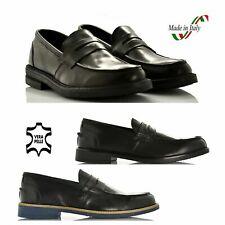 Mocassini uomo scarpa in vera pelle nero college casual mocassino made in italy