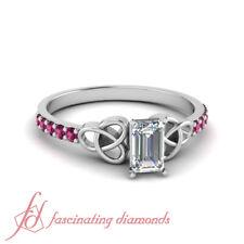 Emerald Cut Diamond And Pink Sapphire Gemstone Celtic Engagement Ring 0.80 Ctw