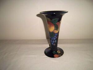 Antique Royal Stanley Ware Jacobean trumpet vase  grape pattern