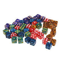 50Pcs 16mm D6 Six Sided Dice W Bag 5 Colors for TRPG MTG DND Funny Game Accs