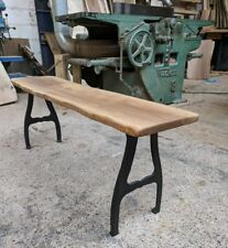Industrial Live Edge Oak Bench on small iron legs 160cm long