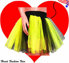 Plus Size Neon Lime Yellow Black Tutu Skirt adult Costume Halloween Christmas
