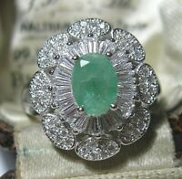 Beautiful STERLING SILVER Real Emerald Gem Stone Art Deco Revival RING Size P