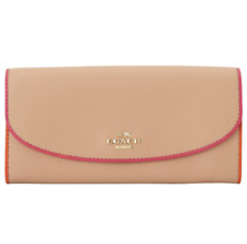 Coach F12586 Slim Envelope Wallet In Polished Pebble Leather IG Nude Pink Multi