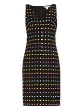 BNWT RRP £ 390 Diane Von Furstenberg Dvf Minetta guaina Vestito Lana Nero UK6 US2