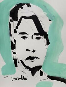 JOSE TRUJILLO - ORIGINAL Art Deco SIGNED ACRYLIC on Paper PAINTING MODERN 9X12