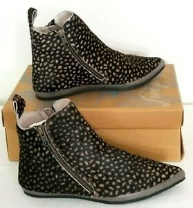 🌞FREE PEOPLE BLACK MELROSE ANKLE BOOTS LEOPARD HAIRCALF SIDE ZIPPERS SZ 7🌺NIB!