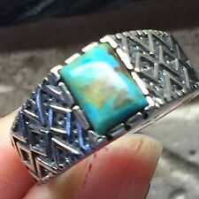 Art Deco Natural Green Mohave Turquoise 925 Solid Sterling Silver Men's Ring 10