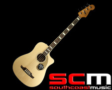 RRP$1400! Fender Kingman Sce V2 Acoustic Electric Bass Guitar Natural With Case