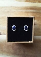 NEW 2.31cts Genuine Blue Sapphire & White Zircon Halo Stud Earrings, Platinum