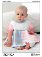 Double Knitting Pattern Dress Cardigan Hat Wool Premature To 12 Months 31-51 cm