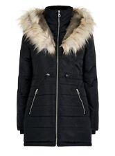 Women`s New Look Parka Coat Faux Fur Trim Hood UK 16 Black Puffer Padded Jacket