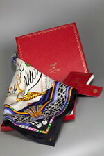 """Must de Cartier Women's 34"""" LARGE Jeweled Panther SILK SCARF Made in France"""