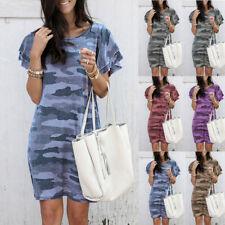 Womens Plus Size Camouflage Mini Dress Ladies Short Sleeve Slim Casual Dress UK